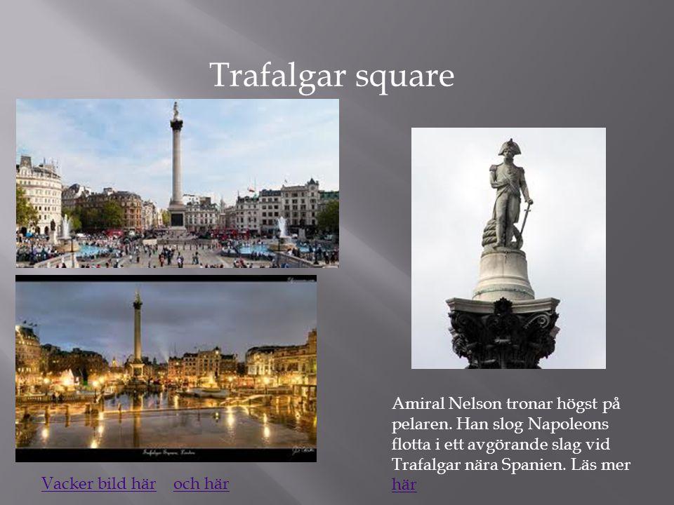 Trafalgar square Amiral Nelson tronar högst på pelaren. Han slog Napoleons flotta i ett avgörande slag vid Trafalgar nära Spanien. Läs mer här.