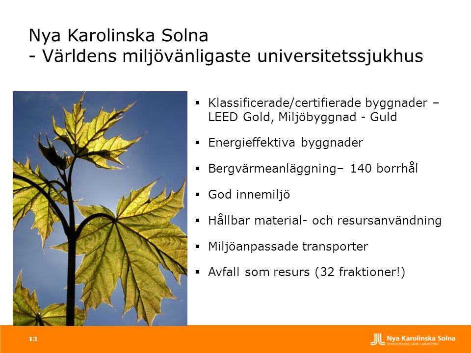 Nya Karolinska Solna - Världens miljövänligaste universitetssjukhus