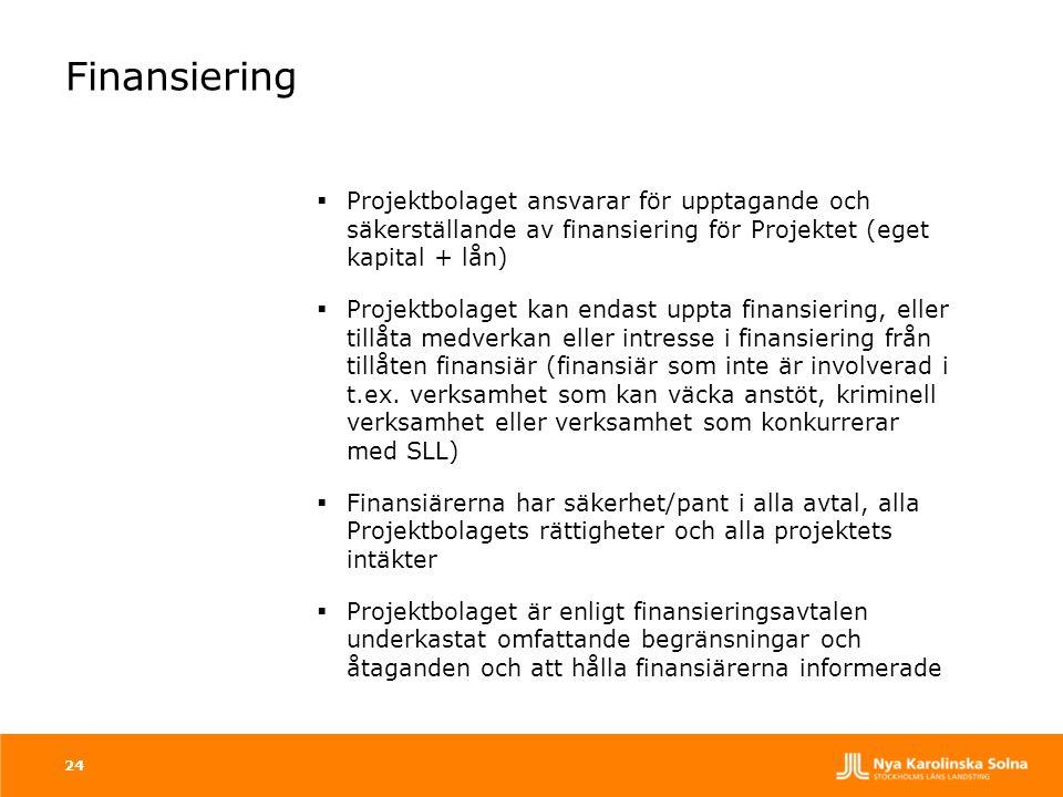 Finansiering Projektbolaget ansvarar för upptagande och säkerställande av finansiering för Projektet (eget kapital + lån)