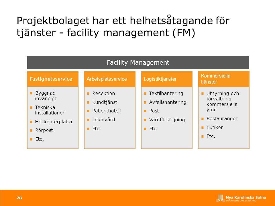 Projektbolaget har ett helhetsåtagande för tjänster - facility management (FM)