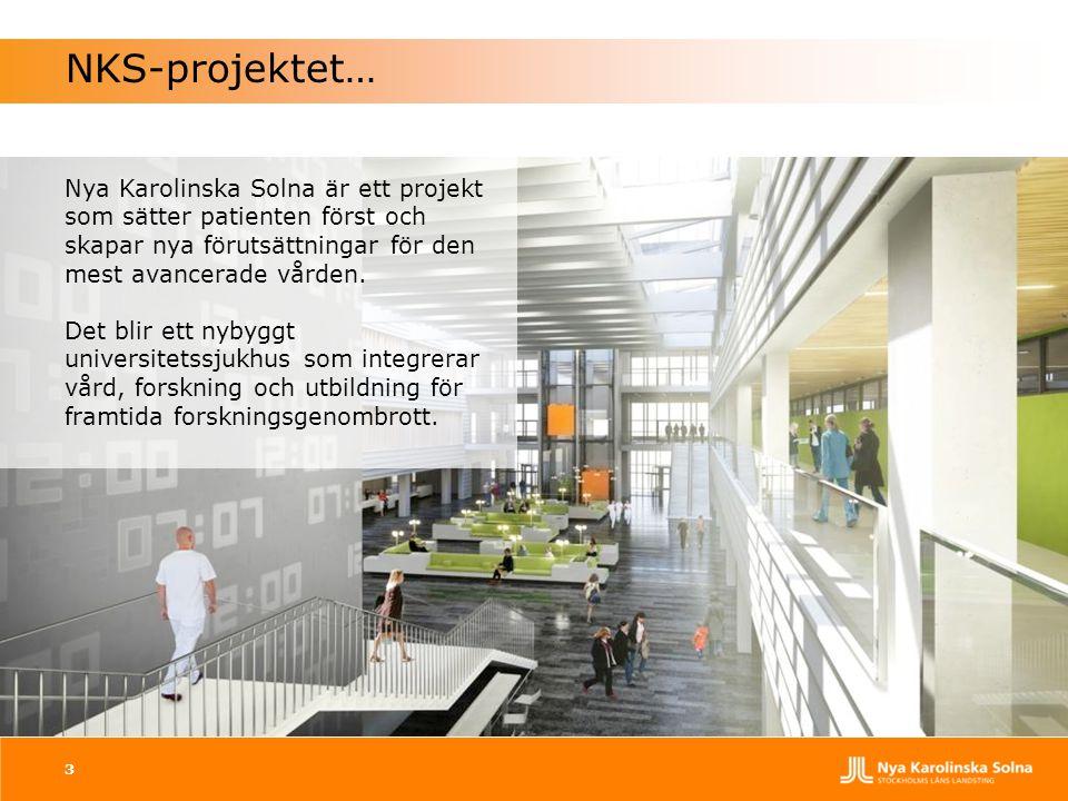 NKS-projektet… Nya Karolinska Solna är ett projekt som sätter patienten först och skapar nya förutsättningar för den mest avancerade vården.