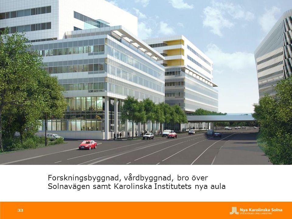 Forskningsbyggnad, vårdbyggnad, bro över Solnavägen samt Karolinska Institutets nya aula