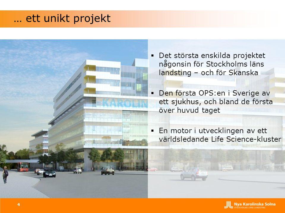… ett unikt projekt Det största enskilda projektet någonsin för Stockholms läns landsting – och för Skanska.