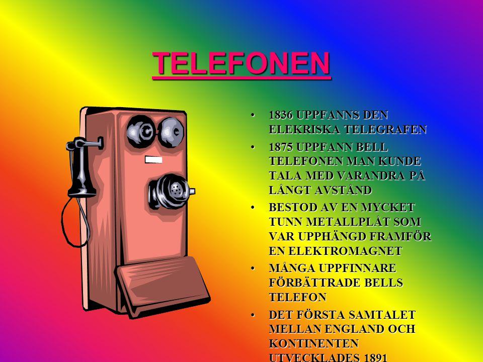 TELEFONEN 1836 UPPFANNS DEN ELEKRISKA TELEGRAFEN