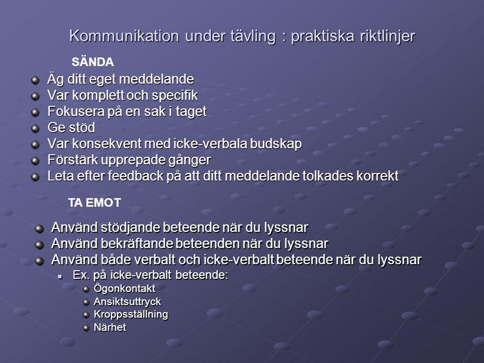 Kommunikation under tävling : praktiska riktlinjer