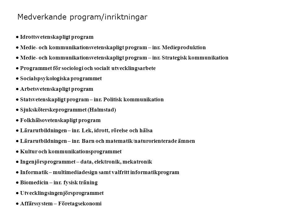 Medverkande program/inriktningar