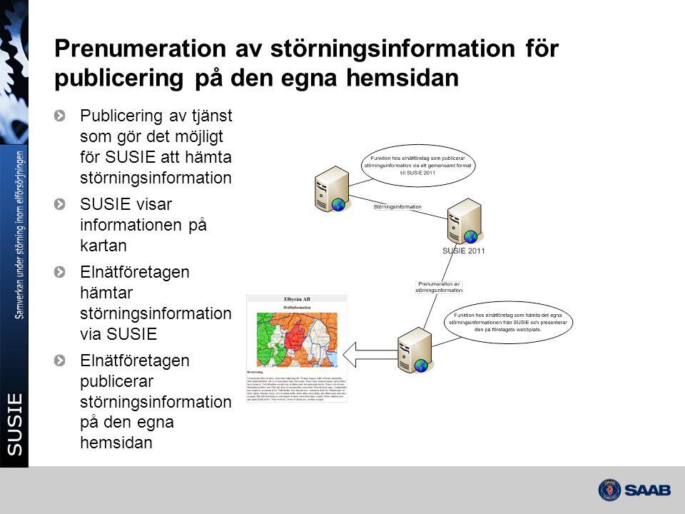 Prenumeration av störningsinformation för publicering på den egna hemsidan