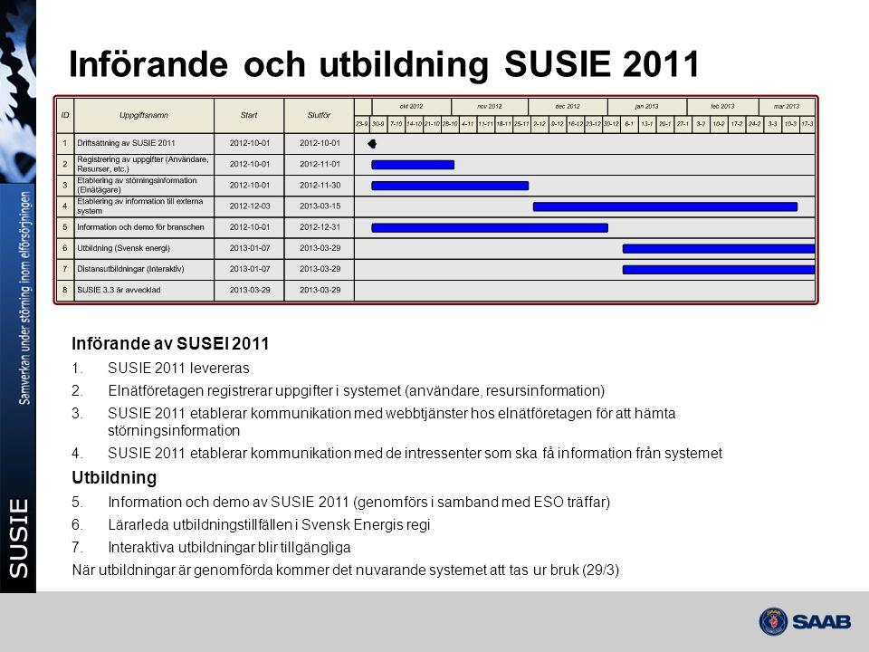 Införande och utbildning SUSIE 2011