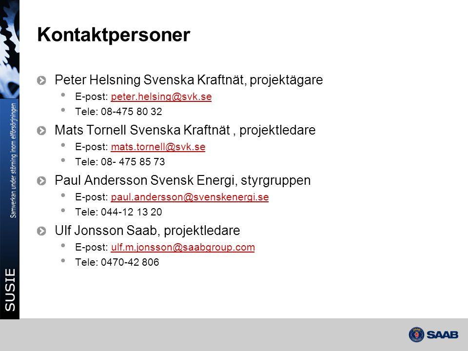 Kontaktpersoner Peter Helsning Svenska Kraftnät, projektägare
