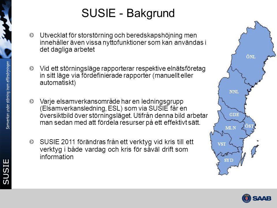 SUSIE - Bakgrund Utvecklat för storstörning och beredskapshöjning men innehåller även vissa nyttofunktioner som kan användas i det dagliga arbetet.
