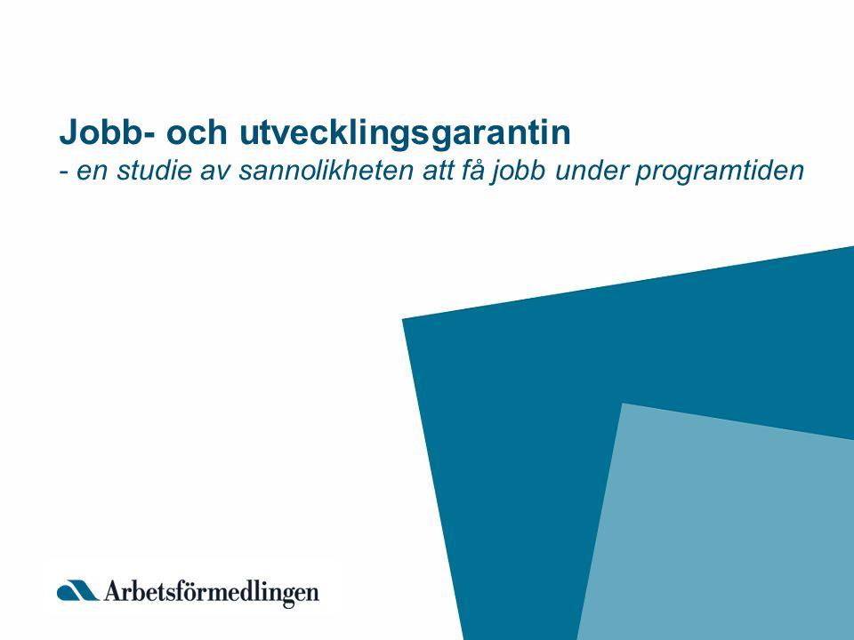 Jobb- och utvecklingsgarantin - en studie av sannolikheten att få jobb under programtiden