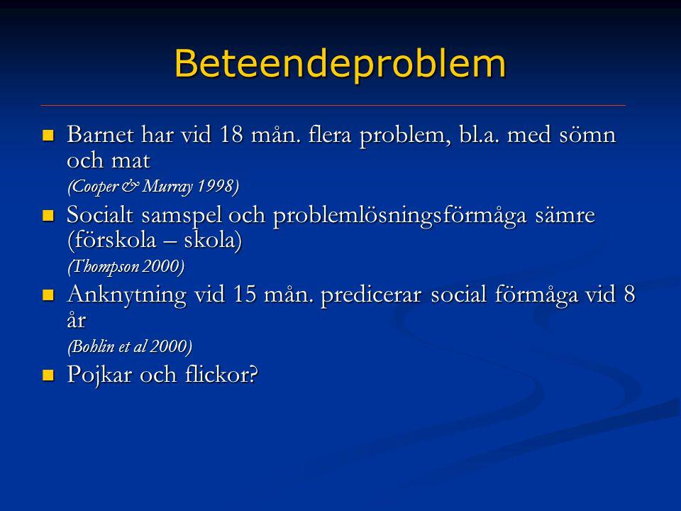Beteendeproblem Barnet har vid 18 mån. flera problem, bl.a. med sömn och mat. (Cooper & Murray 1998)