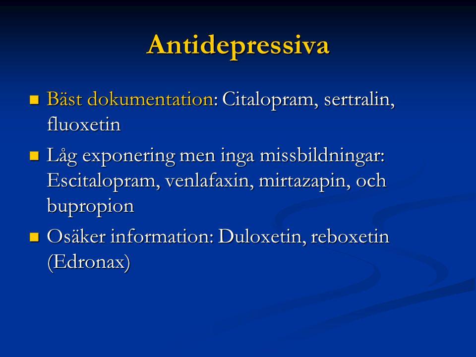 Antidepressiva Bäst dokumentation: Citalopram, sertralin, fluoxetin