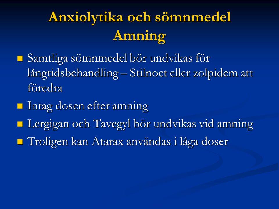 Anxiolytika och sömnmedel Amning