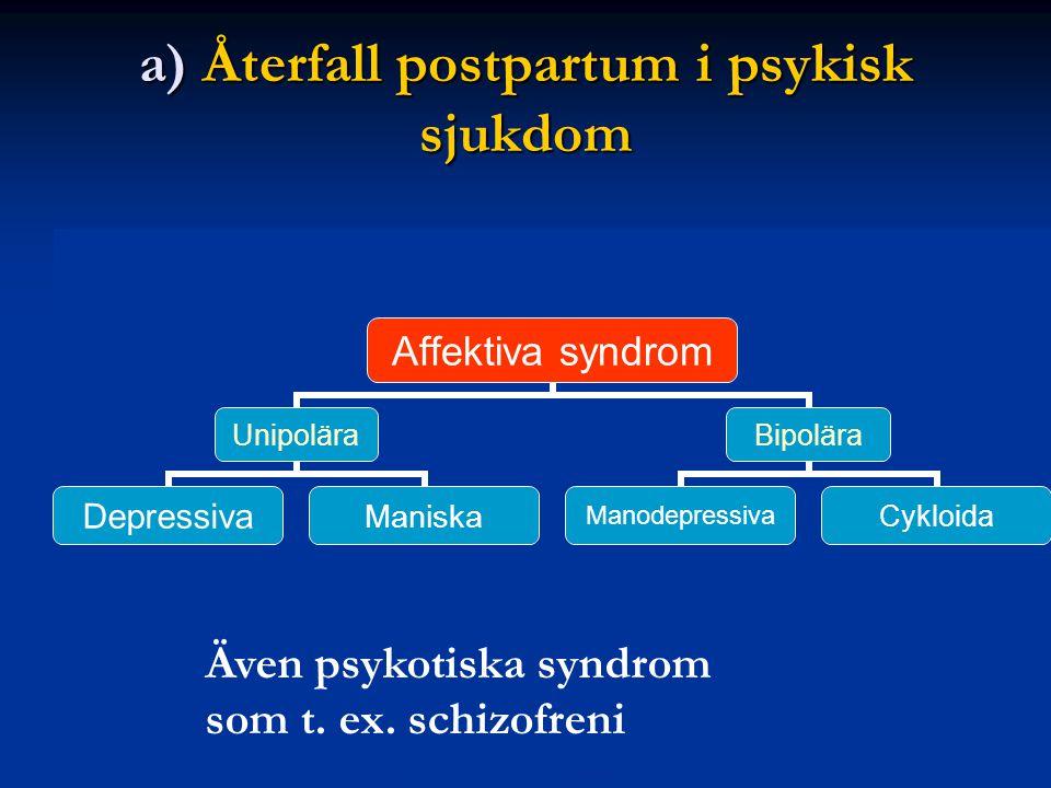 a) Återfall postpartum i psykisk sjukdom