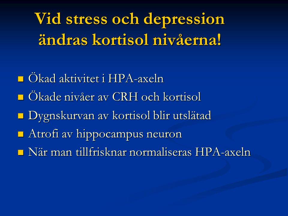 Vid stress och depression ändras kortisol nivåerna!