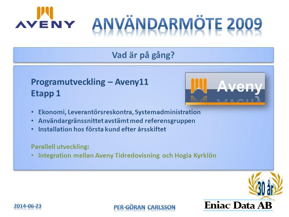 Användarmöte 2009 Vad är på gång Programutveckling – Aveny11 Etapp 1