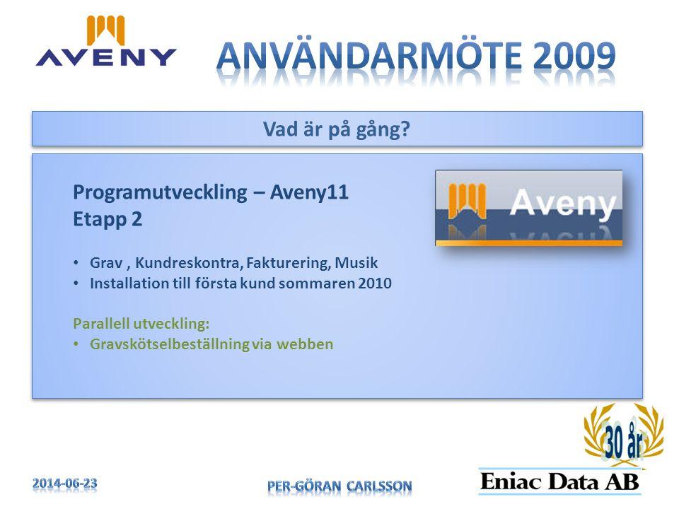 Användarmöte 2009 Vad är på gång Programutveckling – Aveny11 Etapp 2