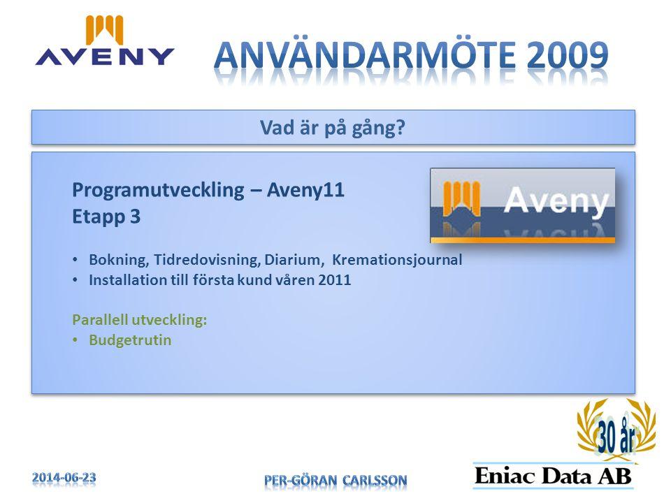 Användarmöte 2009 Vad är på gång Programutveckling – Aveny11 Etapp 3