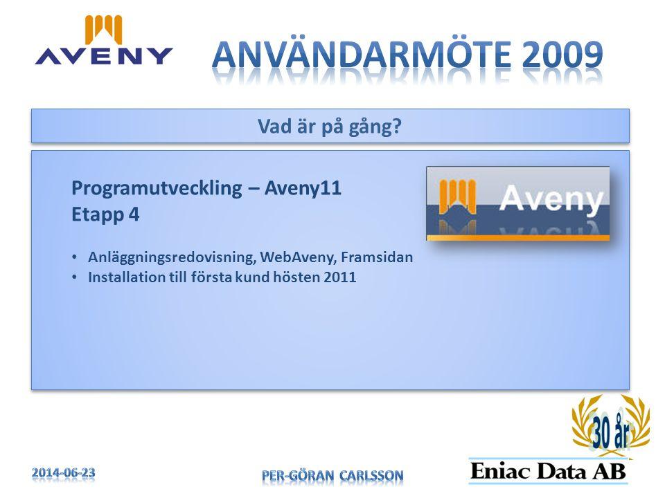 Användarmöte 2009 Vad är på gång Programutveckling – Aveny11 Etapp 4
