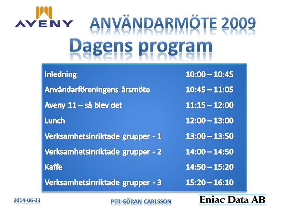 Dagens program Användarmöte 2009 Inledning 10:00 – 10:45