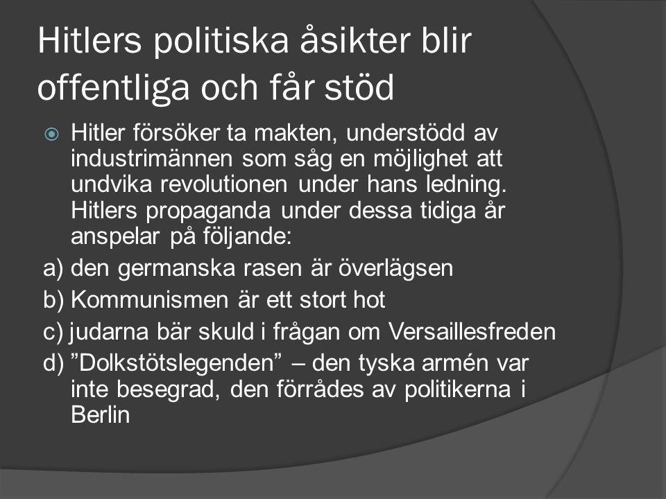 Hitlers politiska åsikter blir offentliga och får stöd