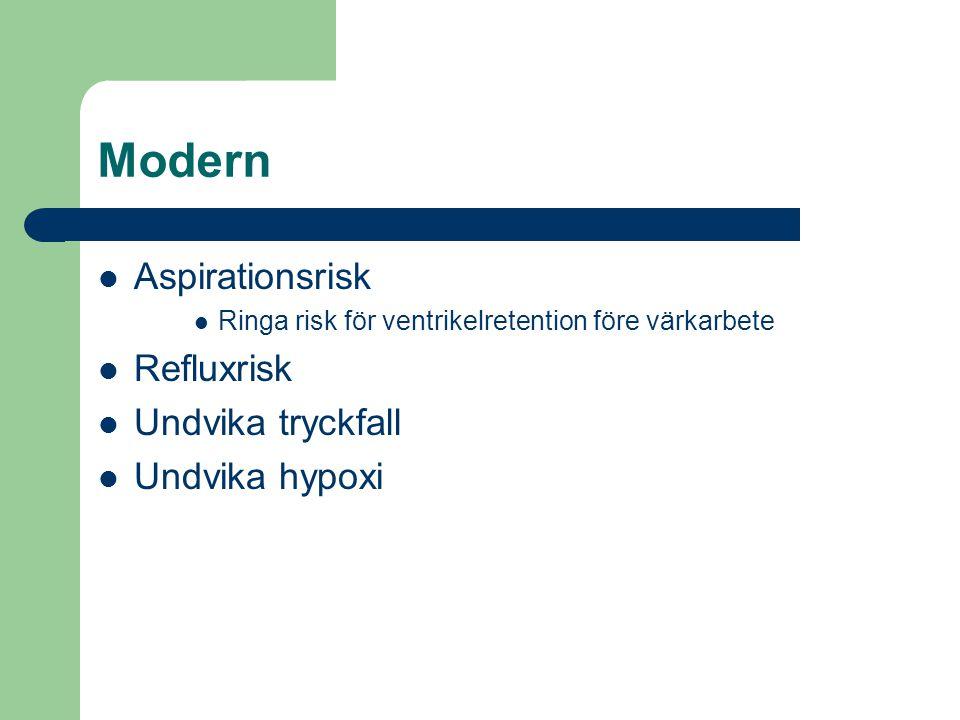 Modern Aspirationsrisk Refluxrisk Undvika tryckfall Undvika hypoxi