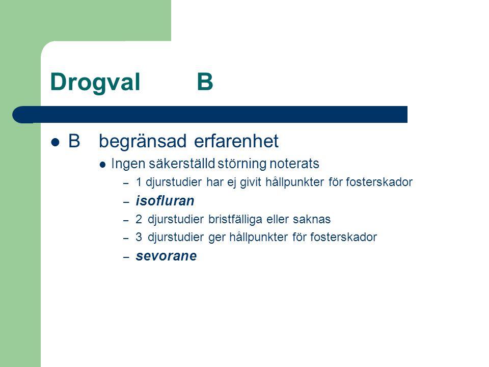 Drogval B B begränsad erfarenhet Ingen säkerställd störning noterats