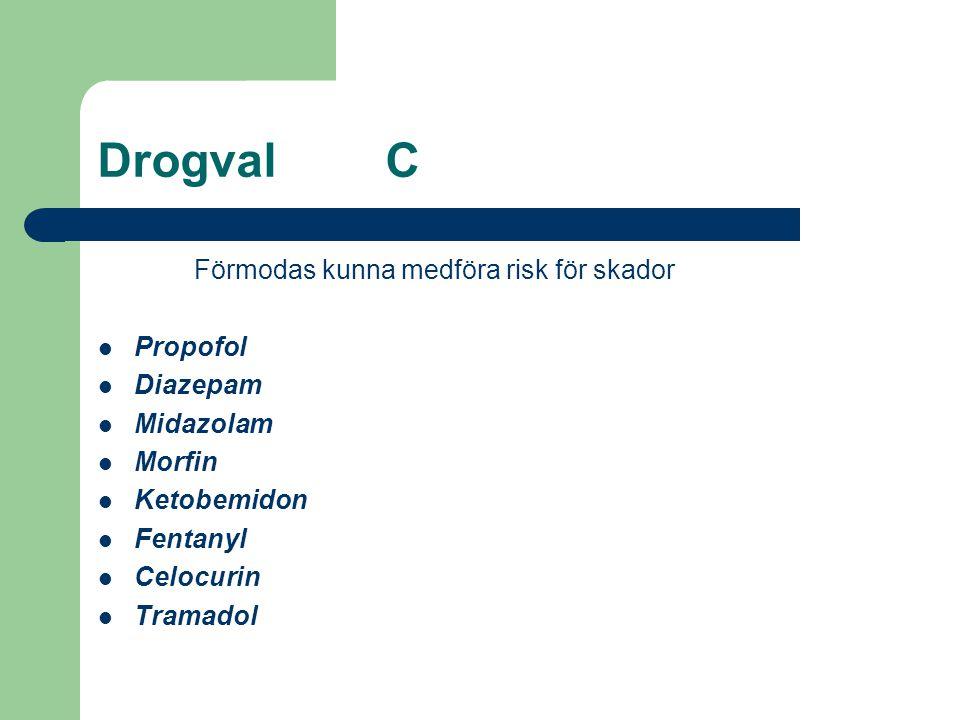Drogval C Förmodas kunna medföra risk för skador Propofol Diazepam