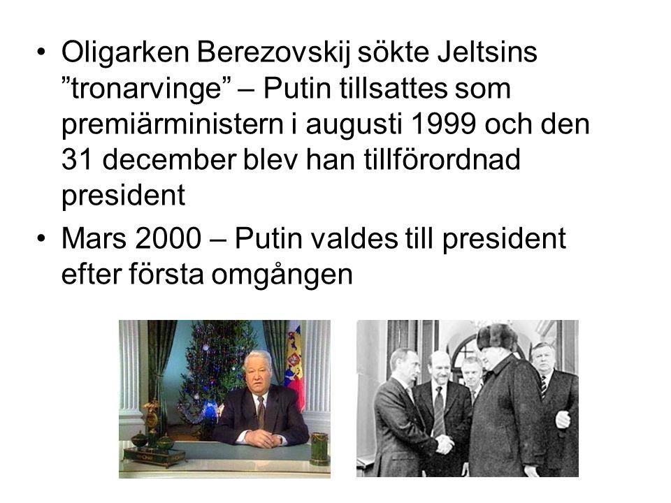 Oligarken Berezovskij sökte Jeltsins tronarvinge – Putin tillsattes som premiärministern i augusti 1999 och den 31 december blev han tillförordnad president