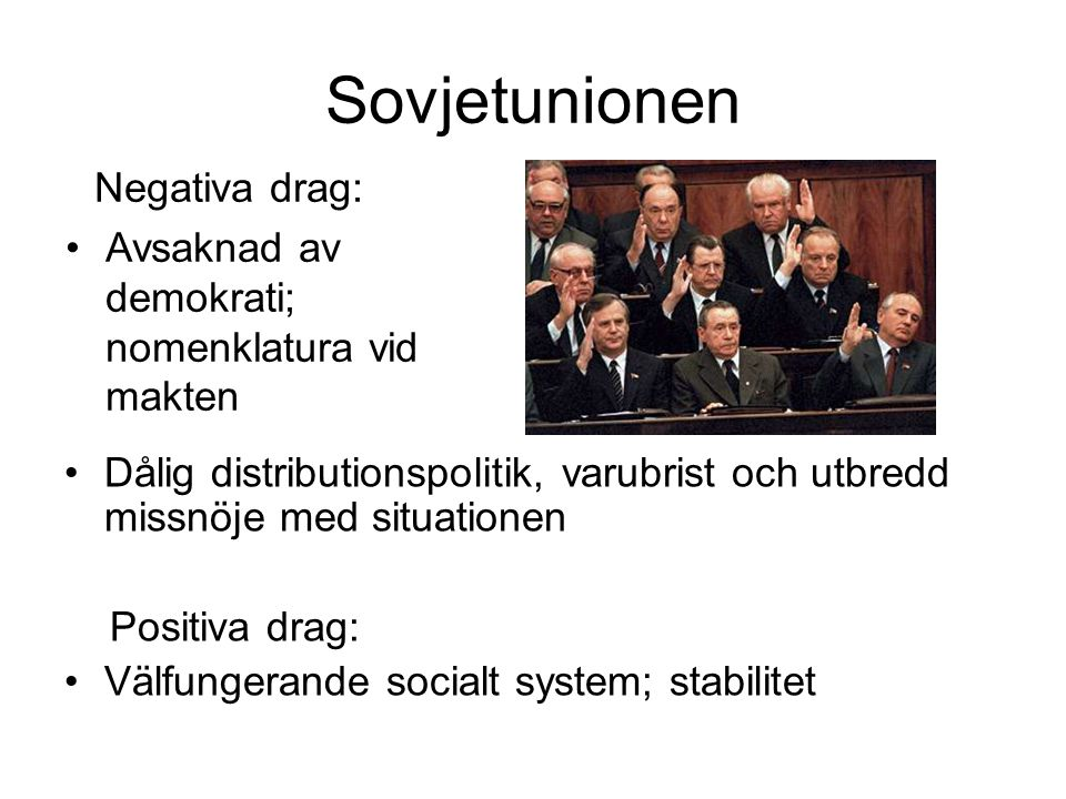 Sovjetunionen Avsaknad av demokrati; nomenklatura vid makten