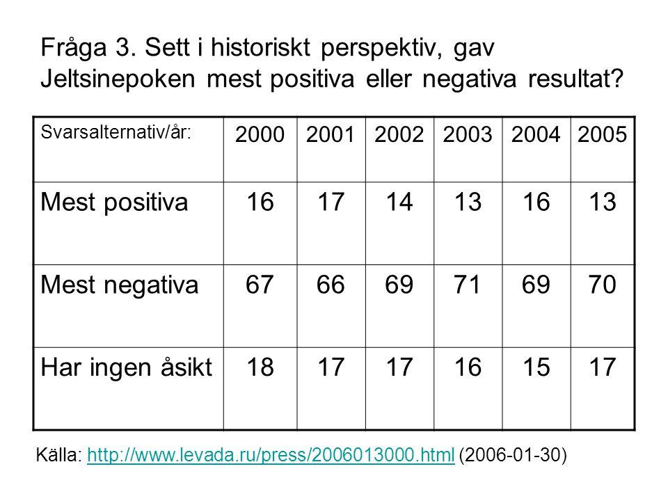 Fråga 3. Sett i historiskt perspektiv, gav Jeltsinepoken mest positiva eller negativa resultat