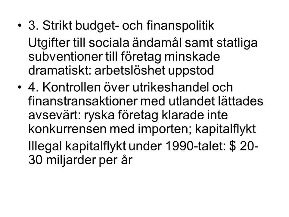 3. Strikt budget- och finanspolitik