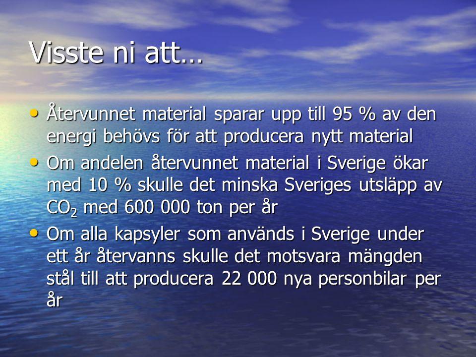 Visste ni att… Återvunnet material sparar upp till 95 % av den energi behövs för att producera nytt material.