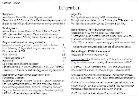 Lungemboli Norrman / Pikwer Symptom