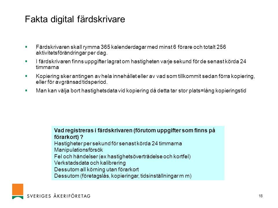 Fakta digital färdskrivare