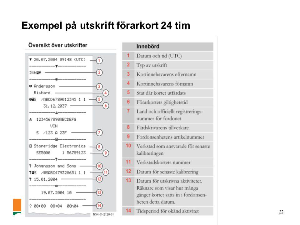 Exempel på utskrift förarkort 24 tim