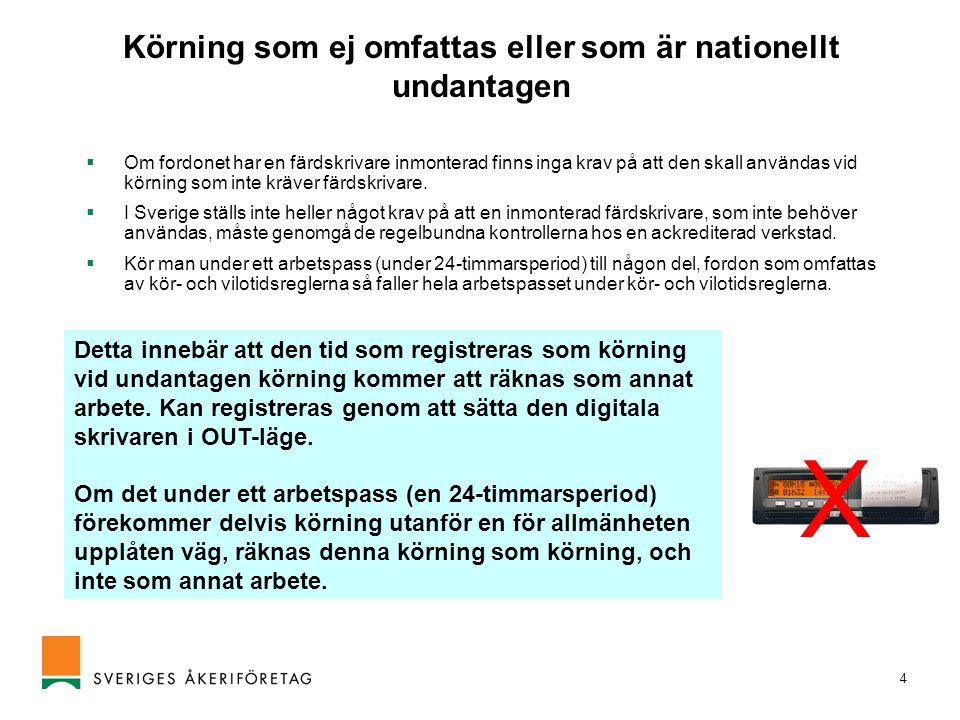 Körning som ej omfattas eller som är nationellt undantagen