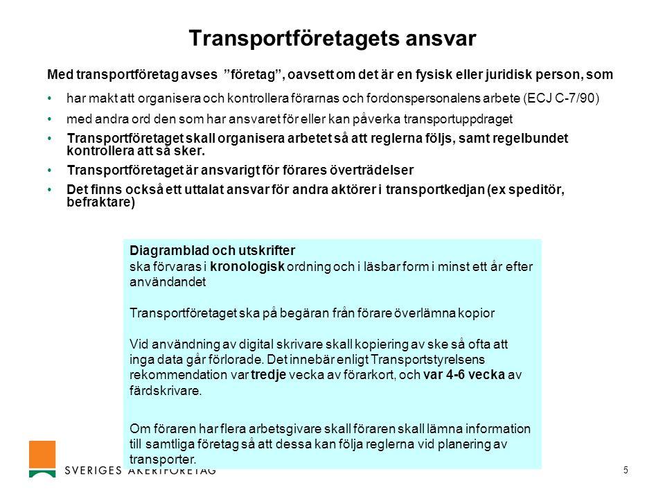 Transportföretagets ansvar