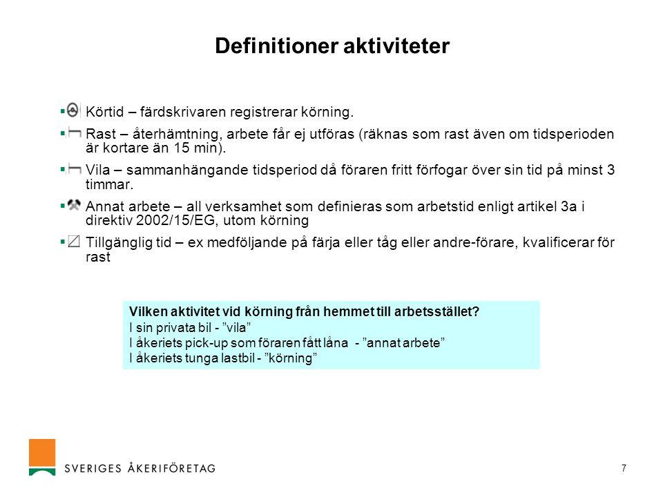 Definitioner aktiviteter