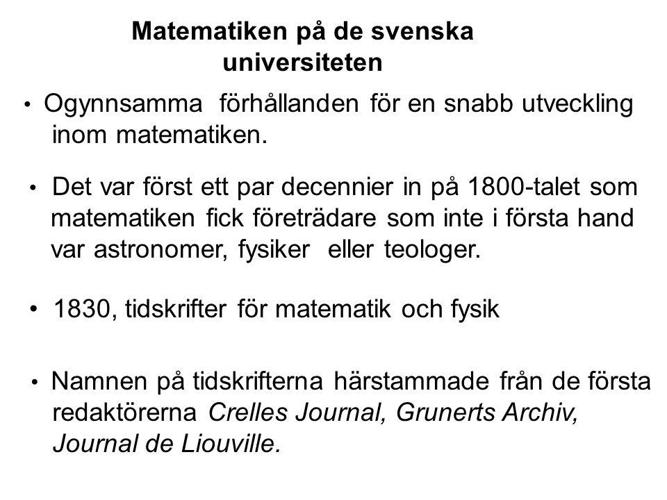 Matematiken på de svenska universiteten