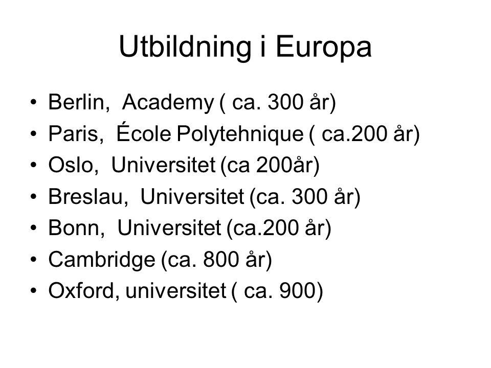 Utbildning i Europa Berlin, Academy ( ca. 300 år)