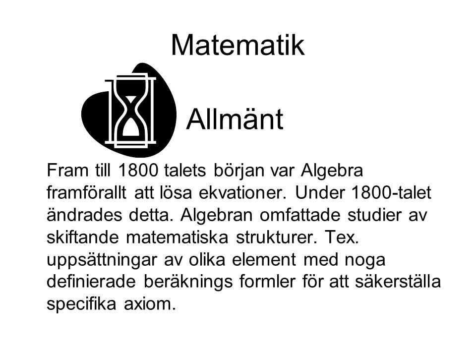 Matematik Allmänt.