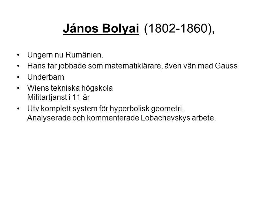 János Bolyai (1802-1860), Ungern nu Rumänien.
