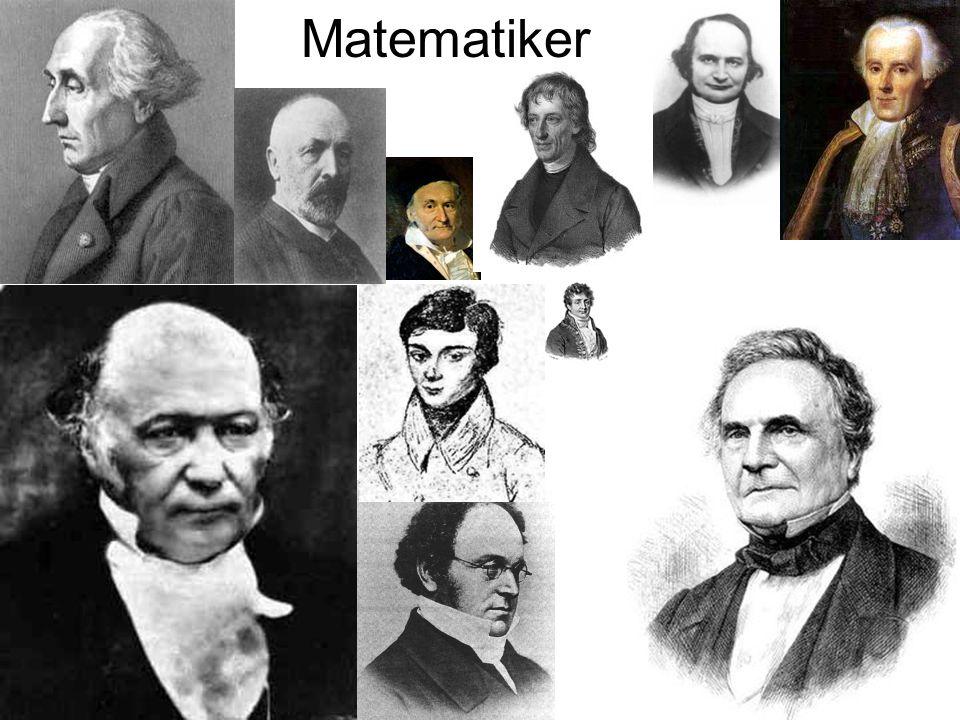 Matematiker Många matematiker av betydelse fanns på den här tiden så tex. Lagrange, Cantor, Gauss, Bolszano, Jacobi, Laplace,
