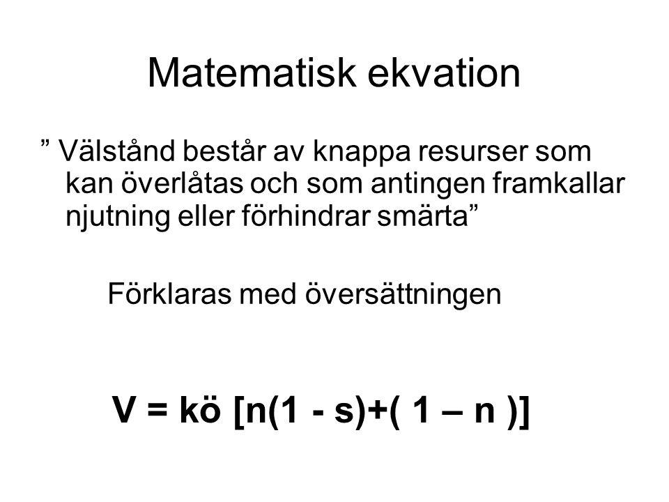 Matematisk ekvation Välstånd består av knappa resurser som kan överlåtas och som antingen framkallar njutning eller förhindrar smärta