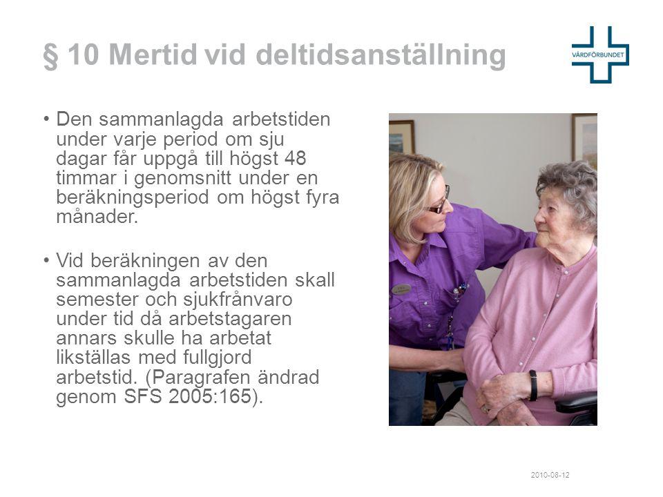 § 10 Mertid vid deltidsanställning