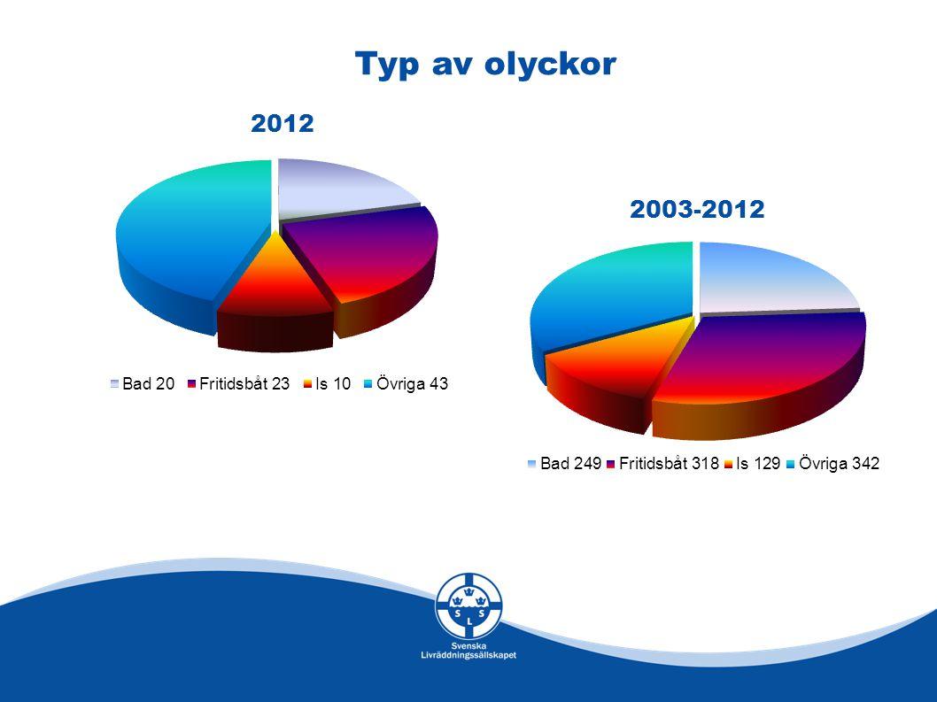 Typ av olyckor 2012 2003-2012