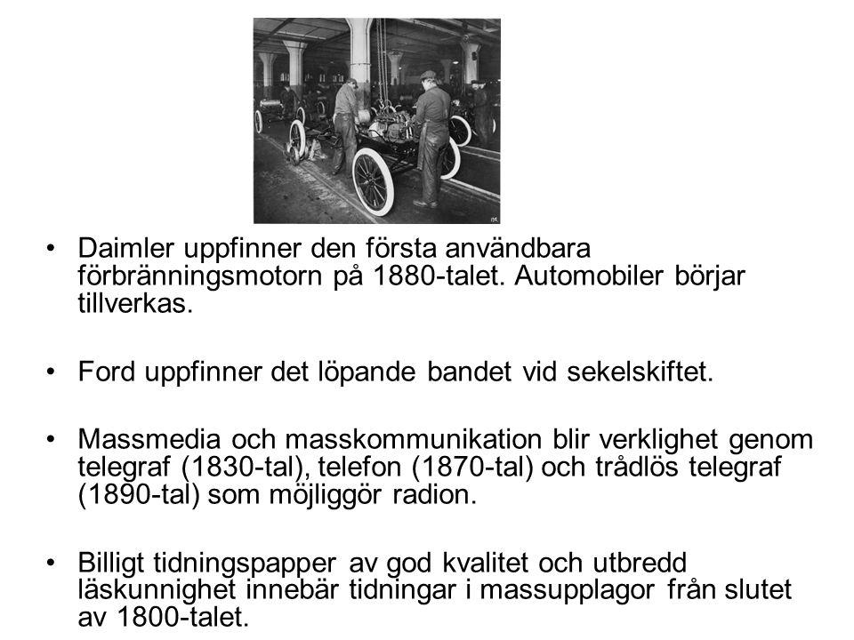 Daimler uppfinner den första användbara förbränningsmotorn på 1880-talet. Automobiler börjar tillverkas.
