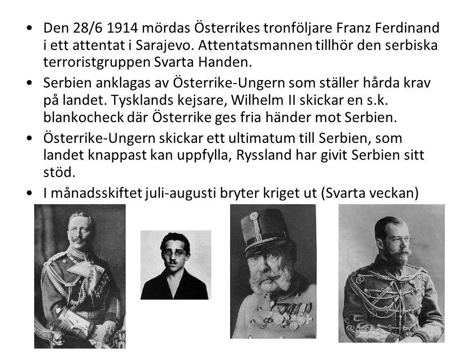 Den 28/6 1914 mördas Österrikes tronföljare Franz Ferdinand i ett attentat i Sarajevo. Attentatsmannen tillhör den serbiska terroristgruppen Svarta Handen.